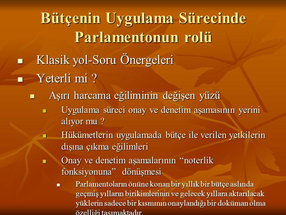 Bütçenin Uygulama Sürecinde Parlamentonun rolü