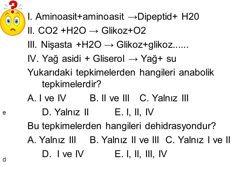 I. Aminoasit+aminoasit →Dipeptid+ H20 II. CO2 +H2O → Glikoz+O2