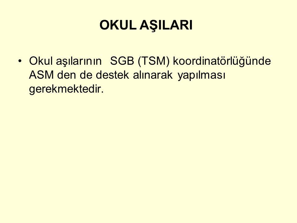 OKUL AŞILARI Okul aşılarının SGB (TSM) koordinatörlüğünde ASM den de destek alınarak yapılması gerekmektedir.
