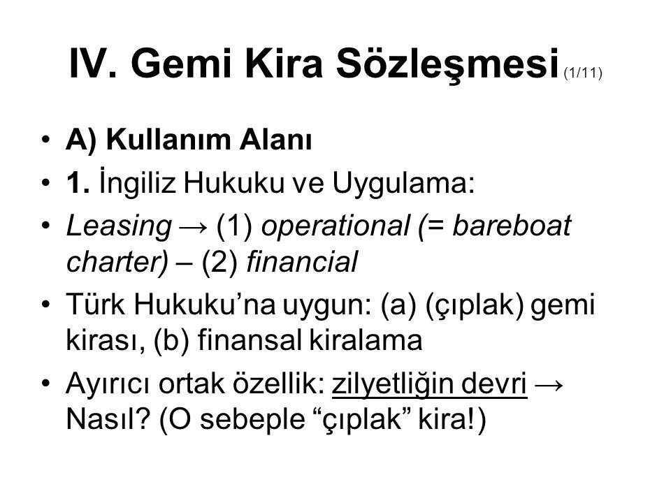 IV. Gemi Kira Sözleşmesi (1/11)