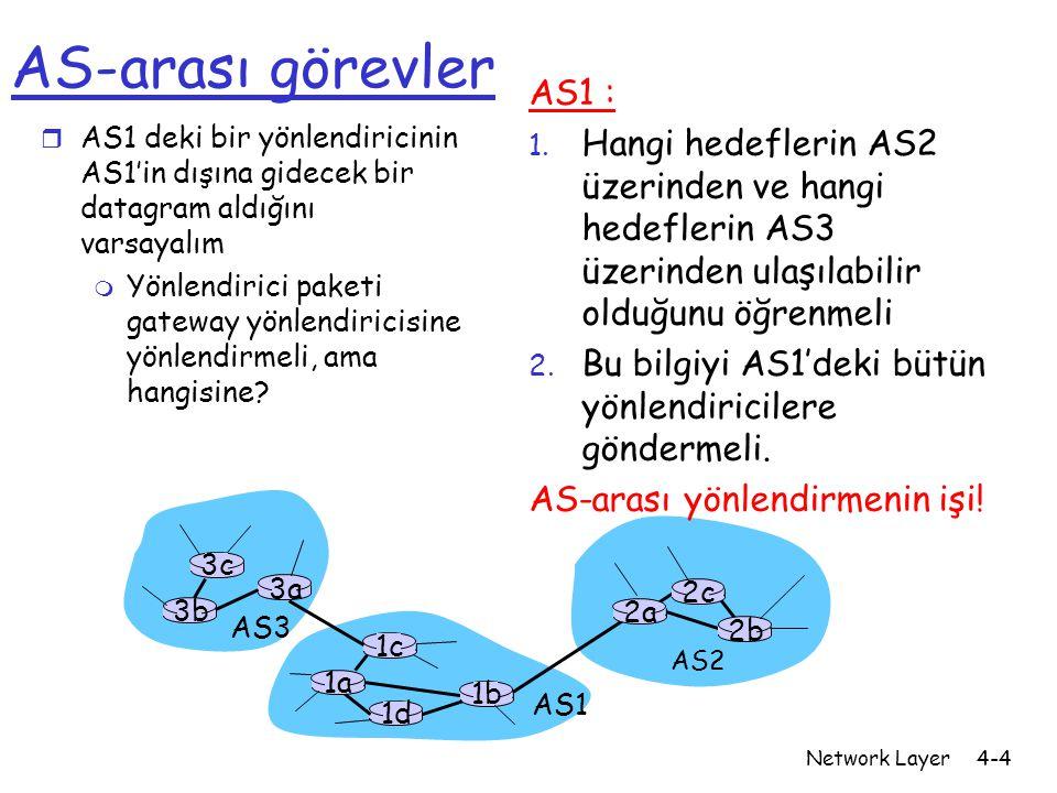 AS-arası görevler AS1 : Hangi hedeflerin AS2 üzerinden ve hangi hedeflerin AS3 üzerinden ulaşılabilir olduğunu öğrenmeli.