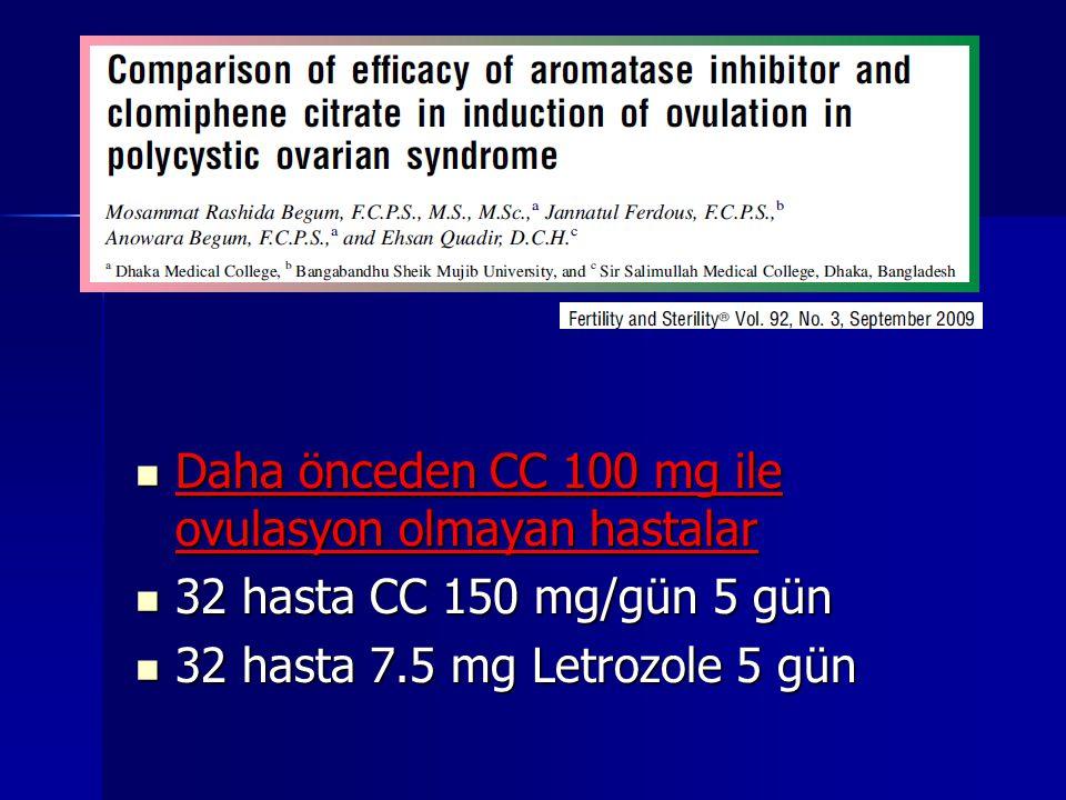 Daha önceden CC 100 mg ile ovulasyon olmayan hastalar