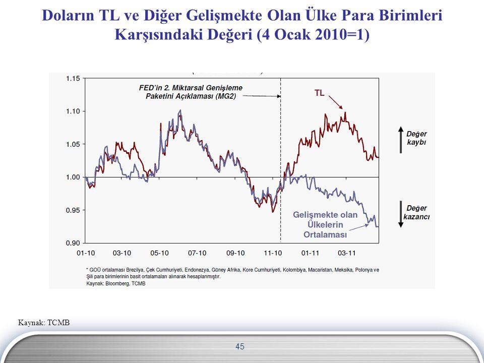 Doların TL ve Diğer Gelişmekte Olan Ülke Para Birimleri Karşısındaki Değeri (4 Ocak 2010=1)
