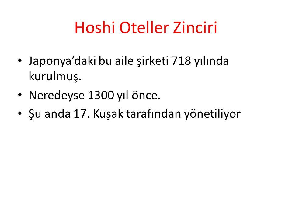 Hoshi Oteller Zinciri Japonya'daki bu aile şirketi 718 yılında kurulmuş.
