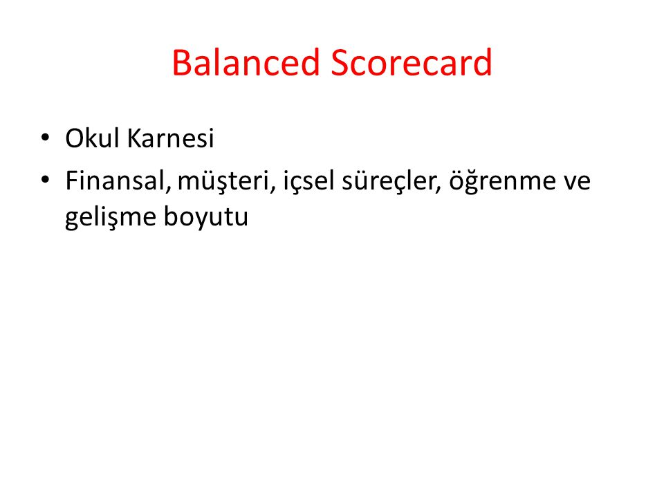 Balanced Scorecard Okul Karnesi