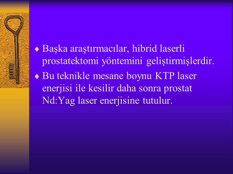 Başka araştırmacılar, hibrid laserli prostatektomi yöntemini geliştirmişlerdir.