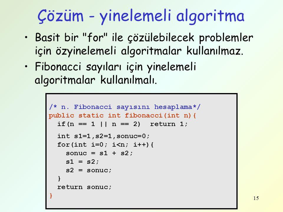 Çözüm - yinelemeli algoritma