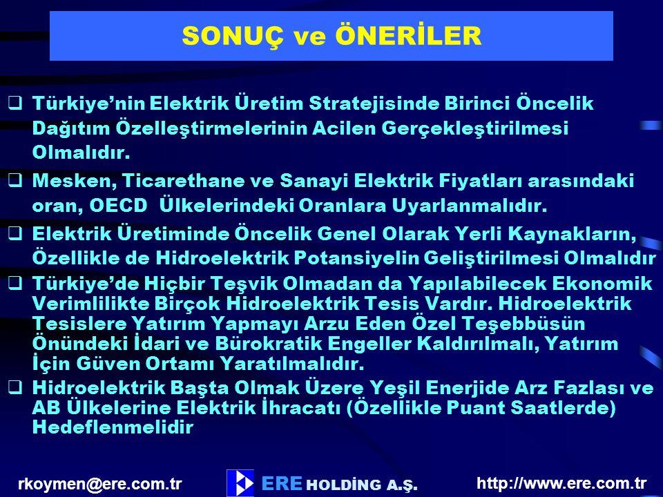 SONUÇ ve ÖNERİLER Türkiye'nin Elektrik Üretim Stratejisinde Birinci Öncelik Dağıtım Özelleştirmelerinin Acilen Gerçekleştirilmesi Olmalıdır.