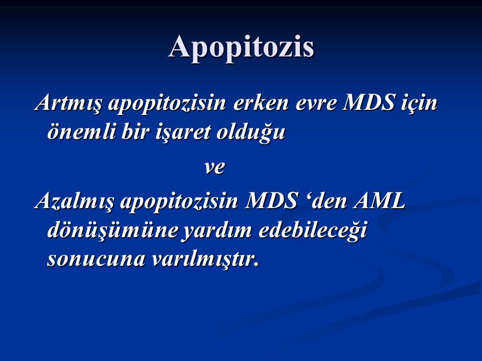 Apopitozis Artmış apopitozisin erken evre MDS için önemli bir işaret olduğu. ve.