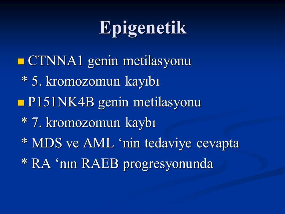 Epigenetik CTNNA1 genin metilasyonu * 5. kromozomun kayıbı