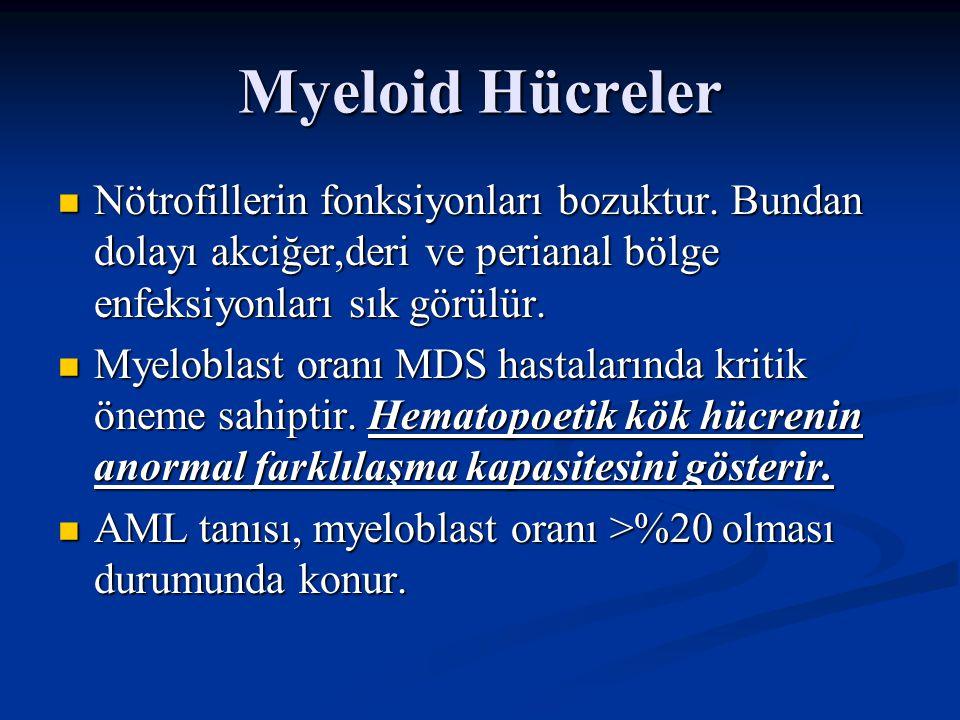 Myeloid Hücreler Nötrofillerin fonksiyonları bozuktur. Bundan dolayı akciğer,deri ve perianal bölge enfeksiyonları sık görülür.