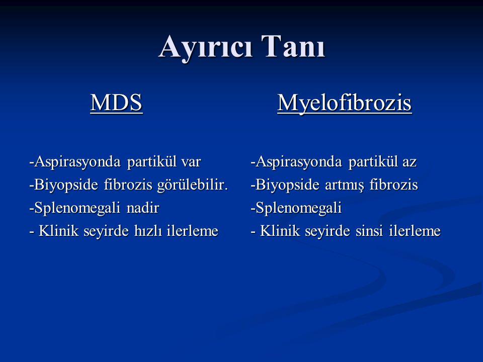 Ayırıcı Tanı Myelofibrozis MDS -Aspirasyonda partikül var