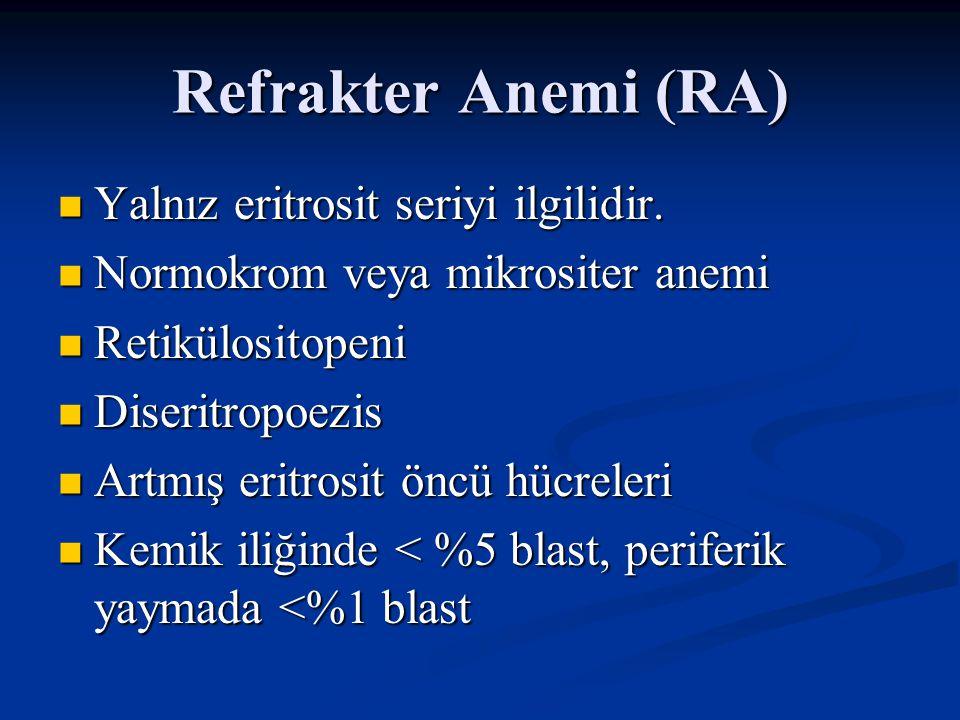 Refrakter Anemi (RA) Yalnız eritrosit seriyi ilgilidir.