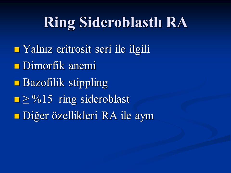Ring Sideroblastlı RA Yalnız eritrosit seri ile ilgili Dimorfik anemi