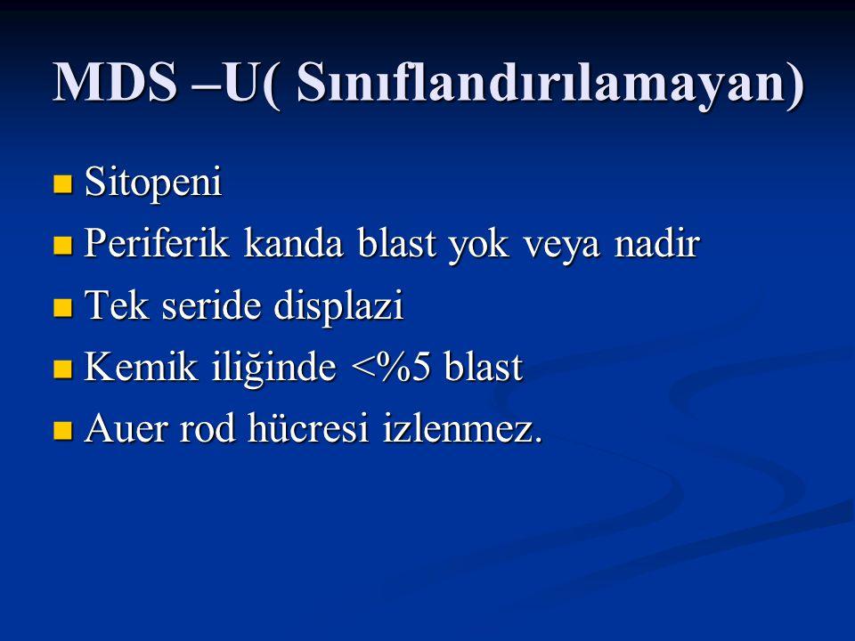 MDS –U( Sınıflandırılamayan)