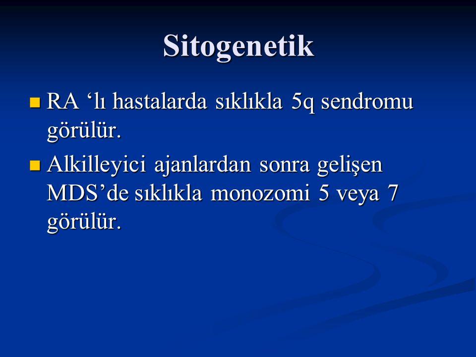 Sitogenetik RA 'lı hastalarda sıklıkla 5q sendromu görülür.