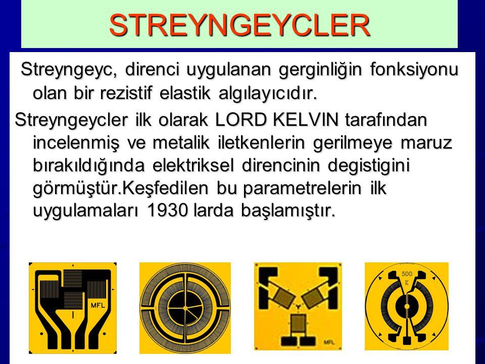 STREYNGEYCLER Streyngeyc, direnci uygulanan gerginliğin fonksiyonu olan bir rezistif elastik algılayıcıdır.