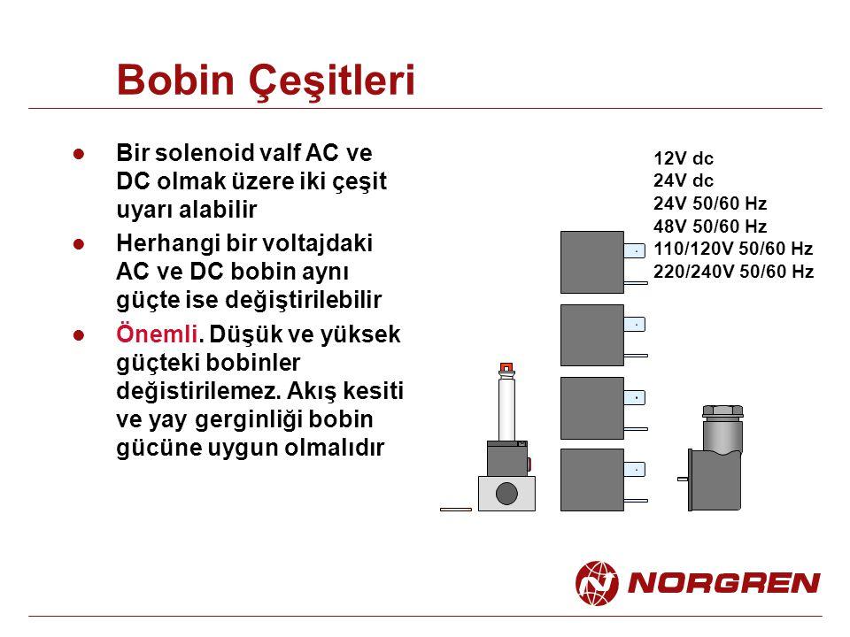 Bobin Çeşitleri Bir solenoid valf AC ve DC olmak üzere iki çeşit uyarı alabilir.
