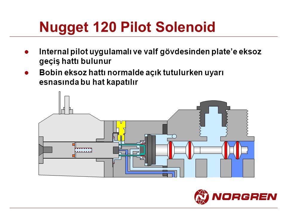 Nugget 120 Pilot Solenoid Internal pilot uygulamalı ve valf gövdesinden plate'e eksoz geçiş hattı bulunur.