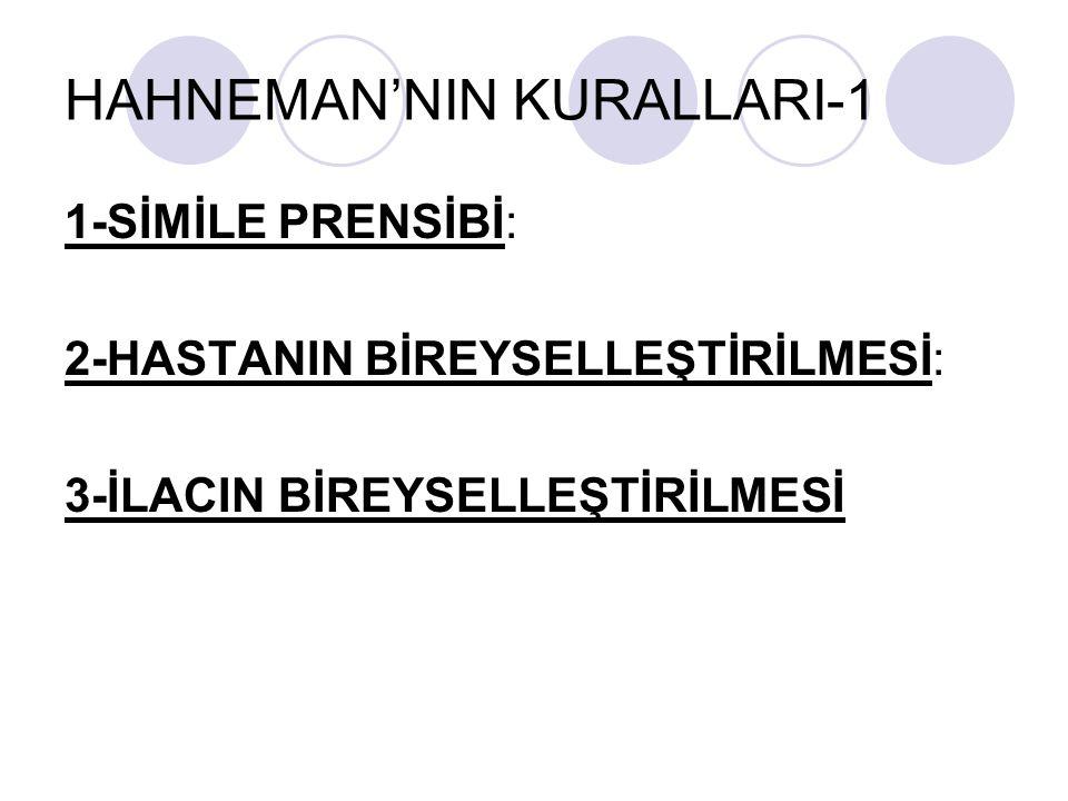 HAHNEMAN'NIN KURALLARI-1