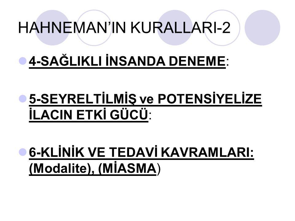HAHNEMAN'IN KURALLARI-2