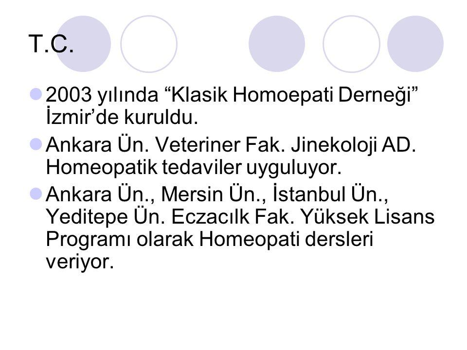 T.C. 2003 yılında Klasik Homoepati Derneği İzmir'de kuruldu.