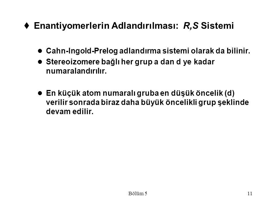 Enantiyomerlerin Adlandırılması: R,S Sistemi