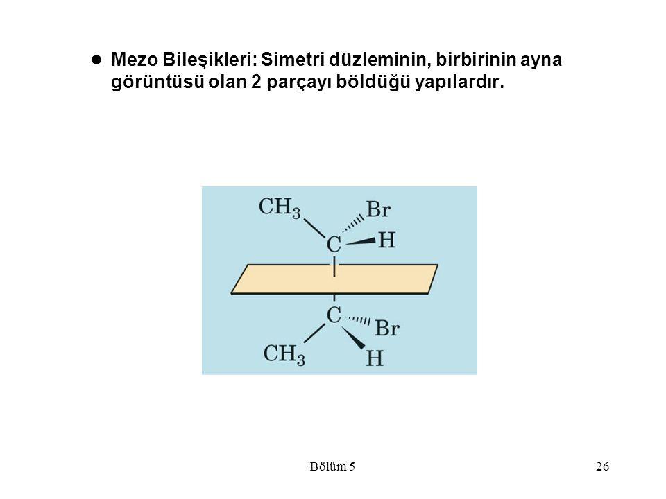 Mezo Bileşikleri: Simetri düzleminin, birbirinin ayna görüntüsü olan 2 parçayı böldüğü yapılardır.