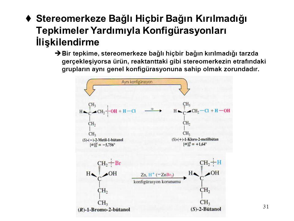 Stereomerkeze Bağlı Hiçbir Bağın Kırılmadığı Tepkimeler Yardımıyla Konfigürasyonları İlişkilendirme