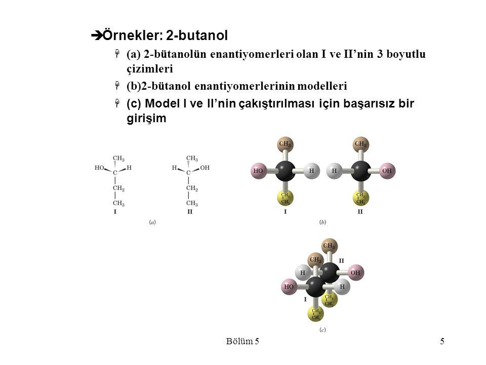 Örnekler: 2-butanol (a) 2-bütanolün enantiyomerleri olan I ve II'nin 3 boyutlu çizimleri. (b)2-bütanol enantiyomerlerinin modelleri.
