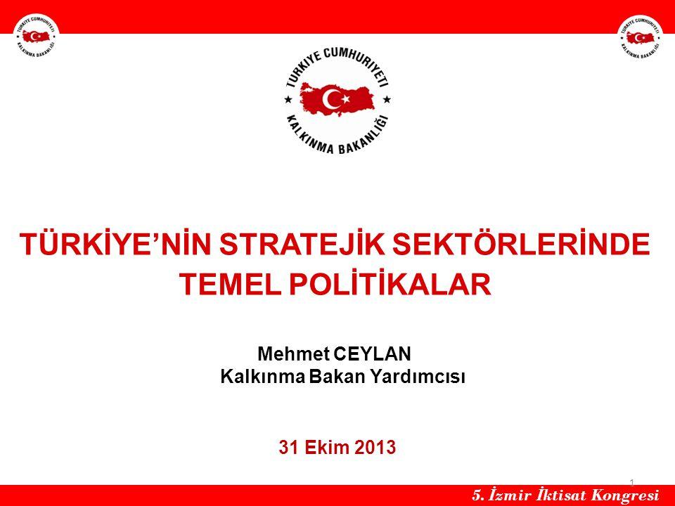 HH TÜRKİYE'NİN STRATEJİK SEKTÖRLERİNDE TEMEL POLİTİKALAR Mehmet CEYLAN Kalkınma Bakan Yardımcısı.