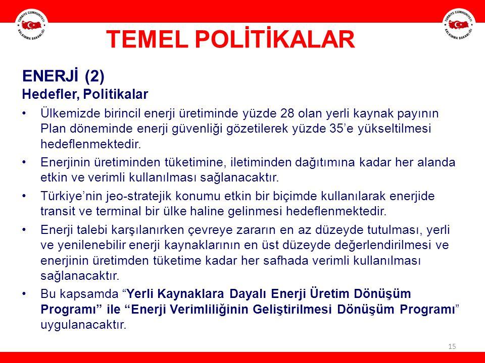 TEMEL POLİTİKALAR ENERJİ (2) Hedefler, Politikalar