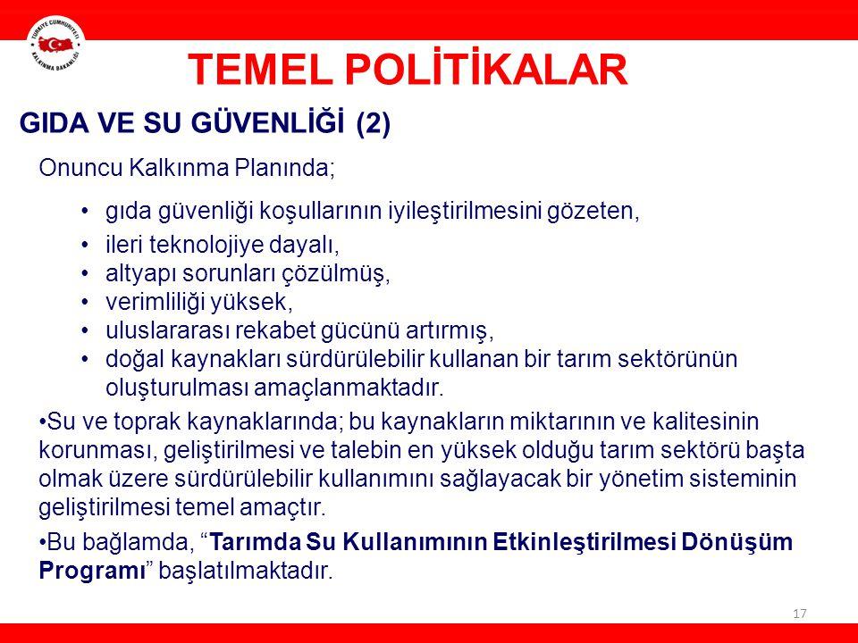TEMEL POLİTİKALAR GIDA VE SU GÜVENLİĞİ (2) Onuncu Kalkınma Planında;