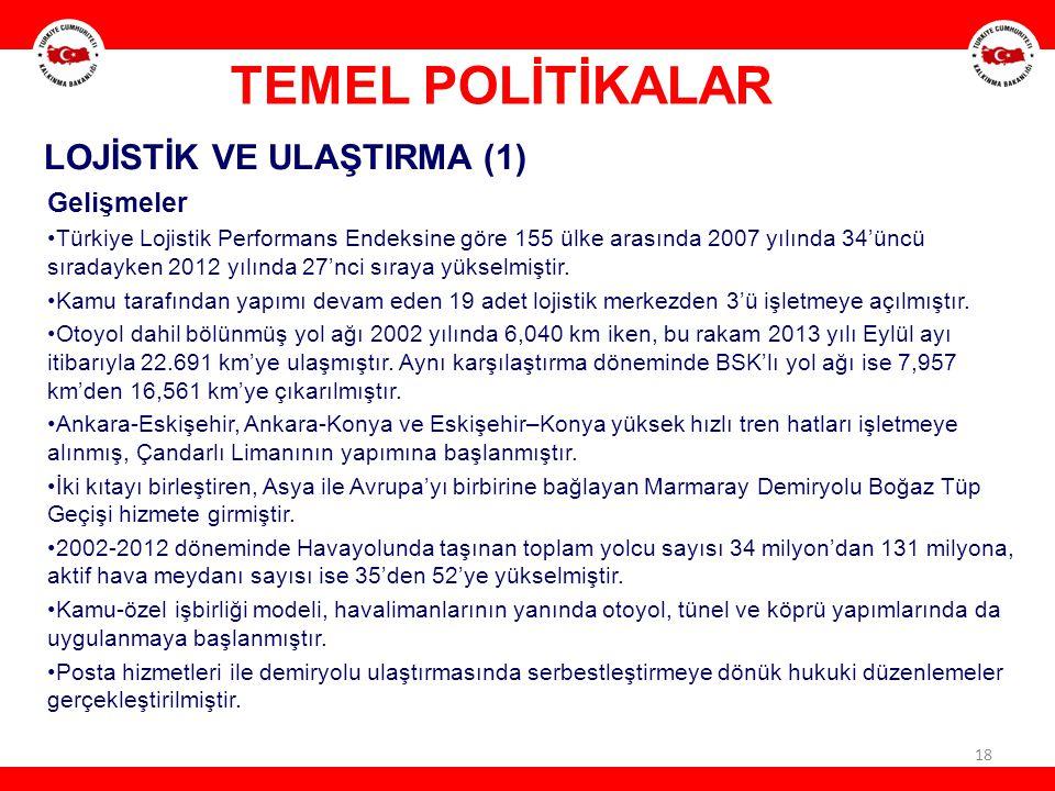 TEMEL POLİTİKALAR LOJİSTİK VE ULAŞTIRMA (1) Gelişmeler