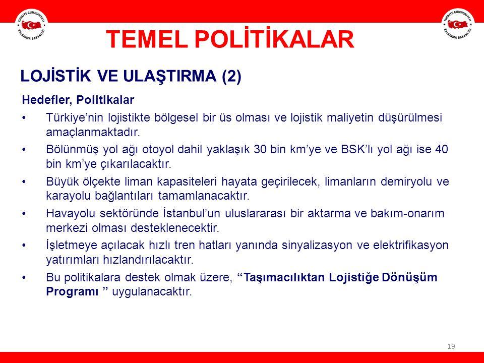TEMEL POLİTİKALAR LOJİSTİK VE ULAŞTIRMA (2) Hedefler, Politikalar