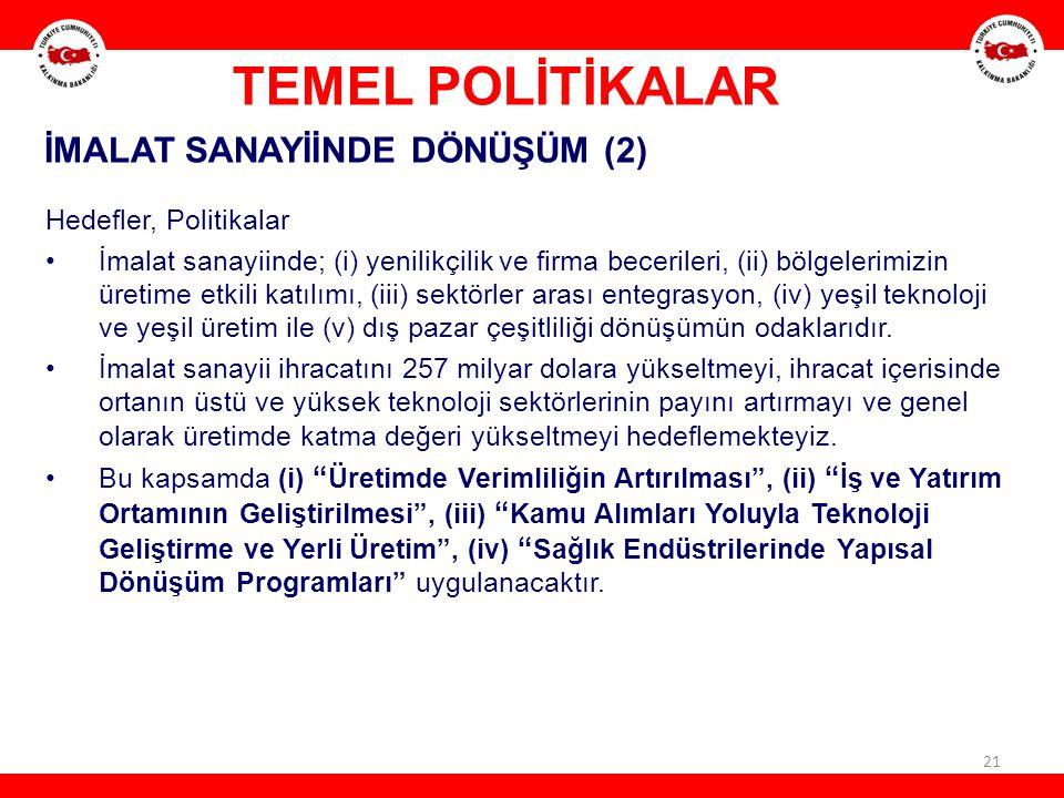 TEMEL POLİTİKALAR İMALAT SANAYİİNDE DÖNÜŞÜM (2) Hedefler, Politikalar