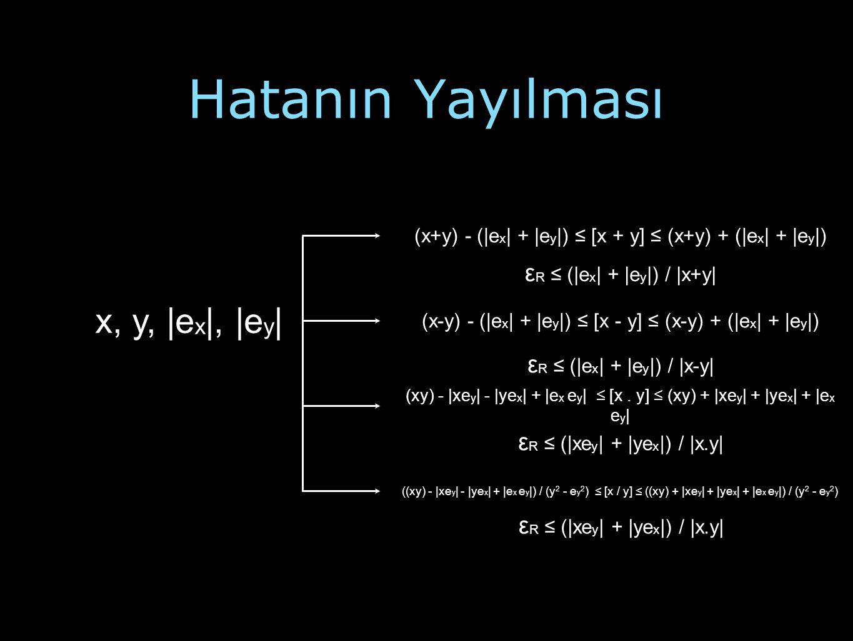 Hatanın Yayılması x, y, |ex|, |ey| εR ≤ (|ex| + |ey|) / |x+y|