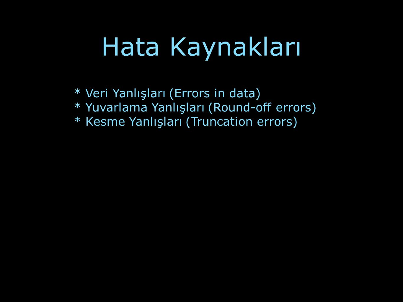 Hata Kaynakları * Veri Yanlışları (Errors in data)