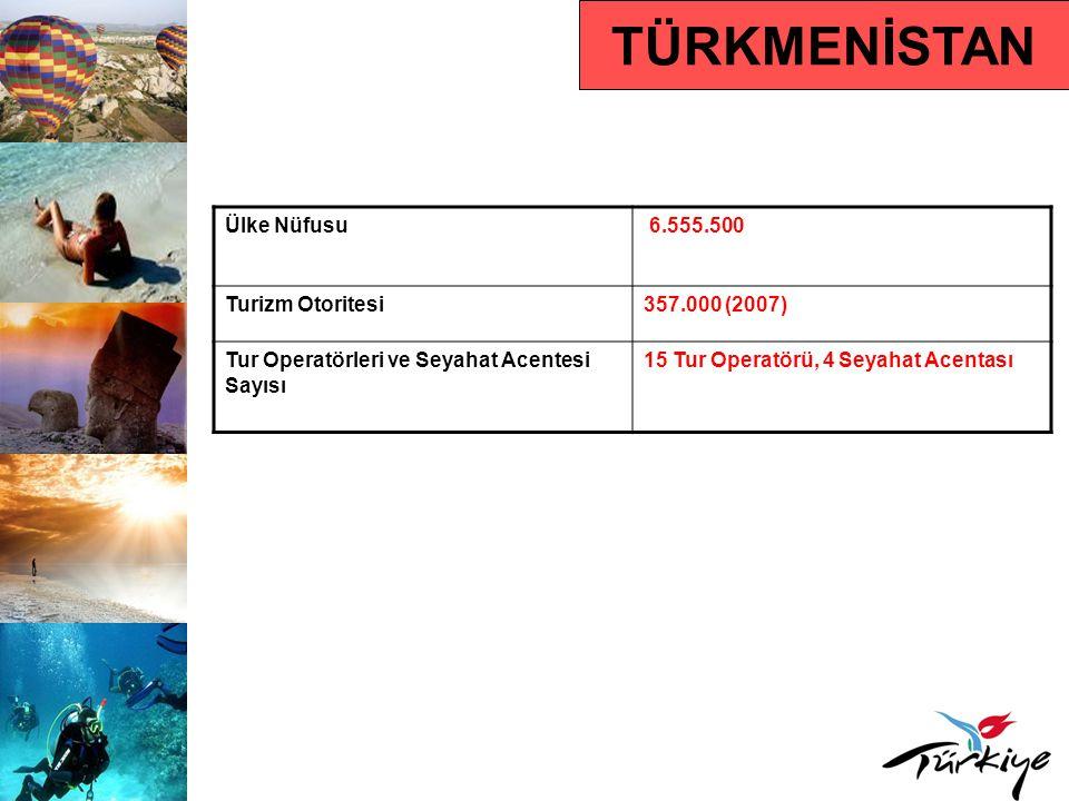 TÜRKMENİSTAN Ülke Nüfusu 6.555.500 Turizm Otoritesi 357.000 (2007)
