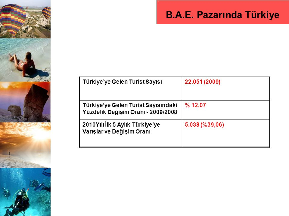 B.A.E. Pazarında Türkiye Türkiye'ye Gelen Turist Sayısı 22.051 (2009)
