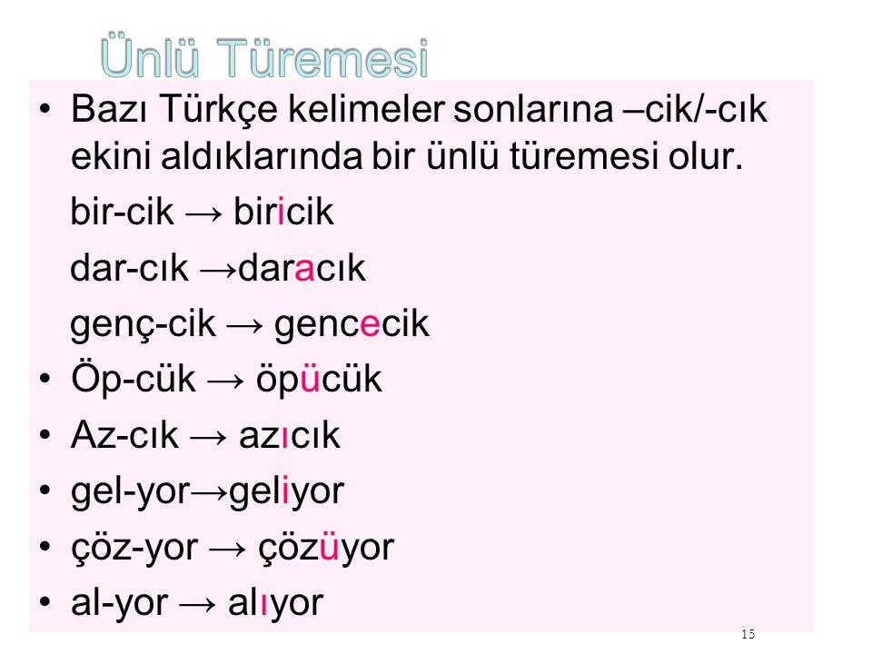 Ünlü Türemesi Bazı Türkçe kelimeler sonlarına –cik/-cık ekini aldıklarında bir ünlü türemesi olur. bir-cik → biricik.