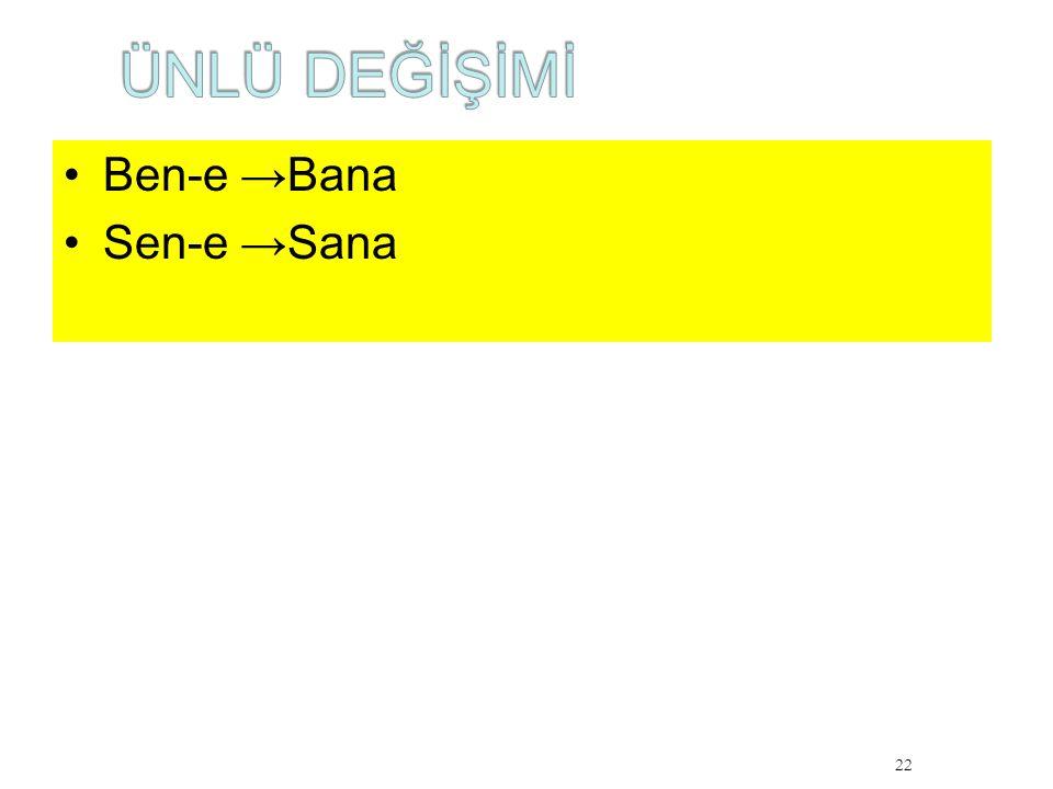 ÜNLÜ DEĞİŞİMİ Ben-e →Bana Sen-e →Sana