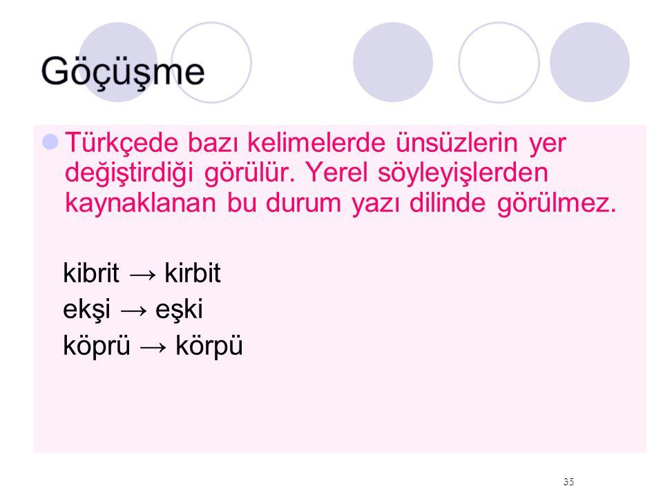 Göçüşme Türkçede bazı kelimelerde ünsüzlerin yer değiştirdiği görülür. Yerel söyleyişlerden kaynaklanan bu durum yazı dilinde görülmez.