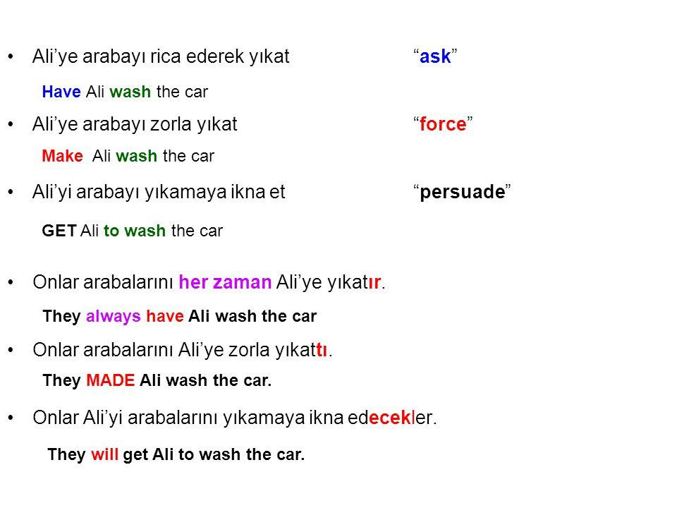 Ali'ye arabayı rica ederek yıkat ask