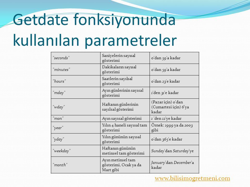 Getdate fonksiyonunda kullanılan parametreler