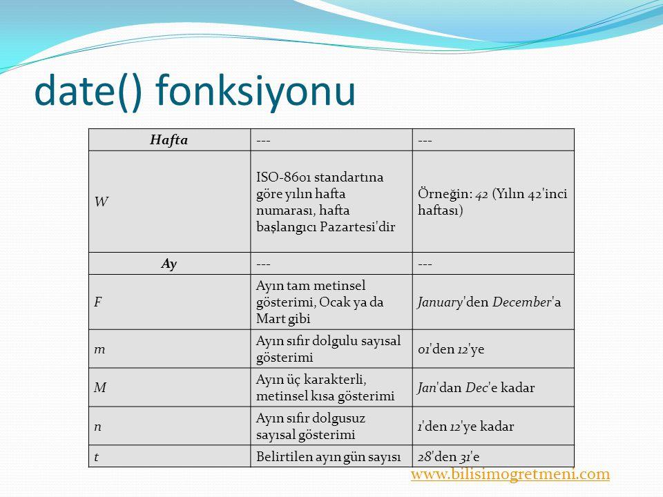 date() fonksiyonu Hafta --- W