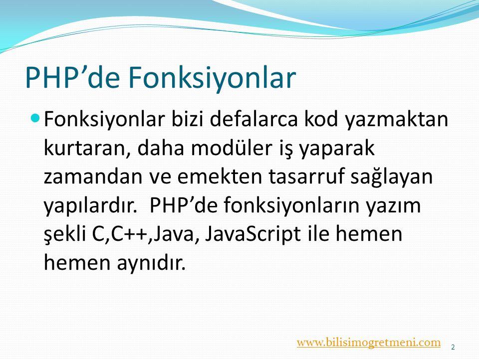 PHP'de Fonksiyonlar