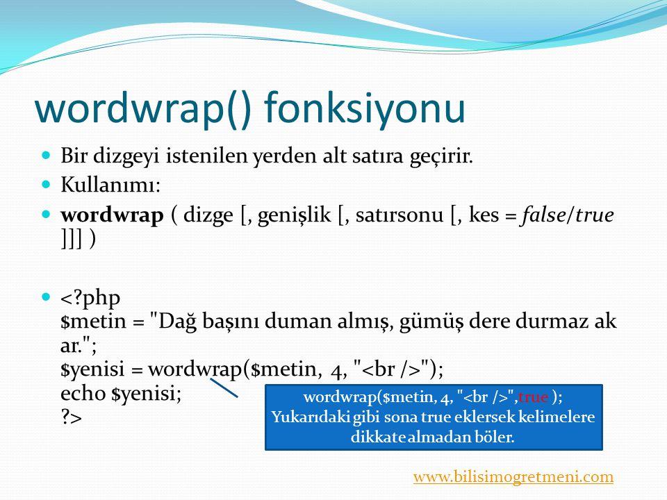 wordwrap() fonksiyonu