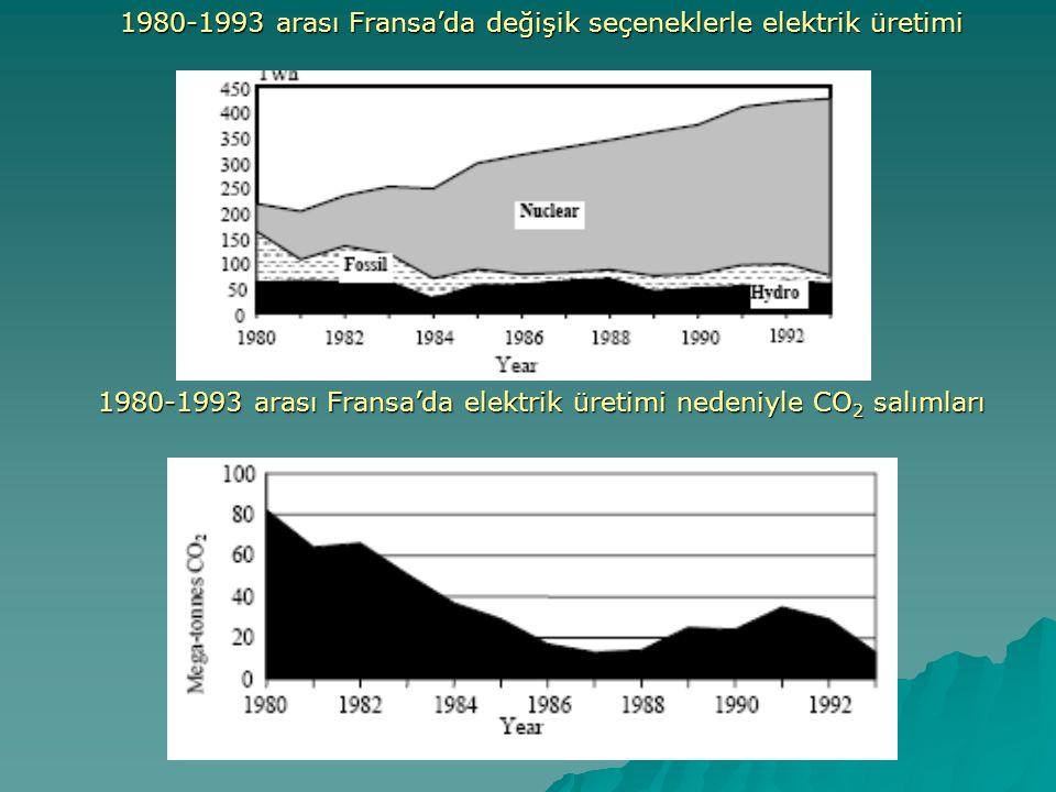 1980-1993 arası Fransa'da değişik seçeneklerle elektrik üretimi