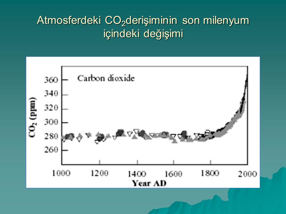 Atmosferdeki CO2derişiminin son milenyum içindeki değişimi